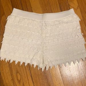 Express White Crocheted Shorts